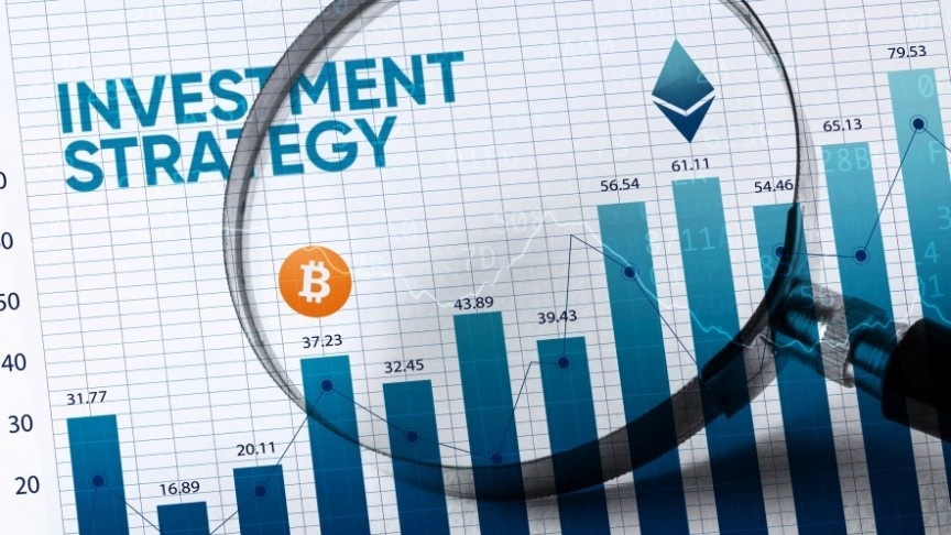 Investment Strategy, Bitcoin logo and graphs on paper, seen through magnifying glass