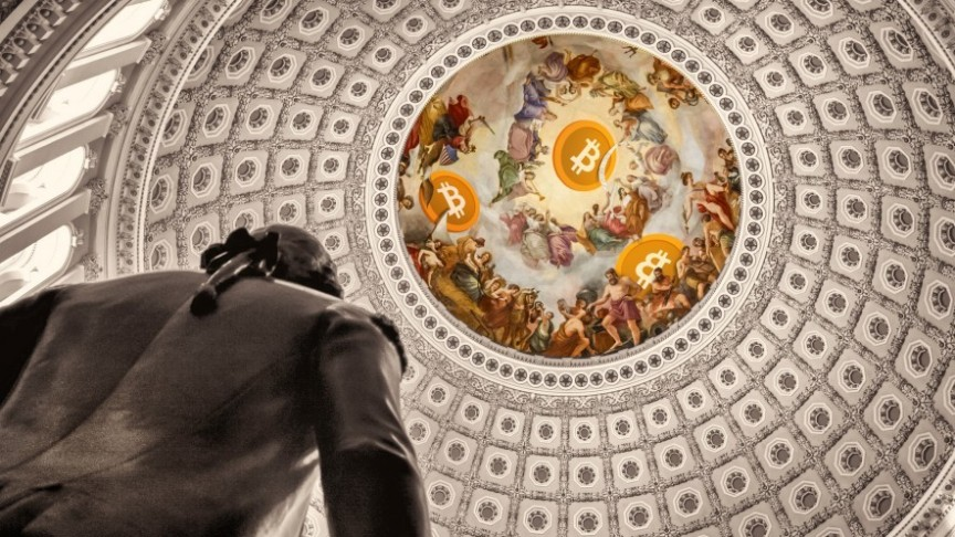 statue under dome with classic renaissance painting and Bitcoin logos