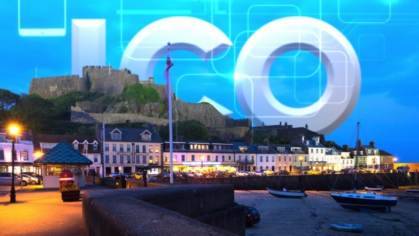 a row of houses and street lamps on the beach in the evening, 2 boats, ICO sign on the background of blue sky