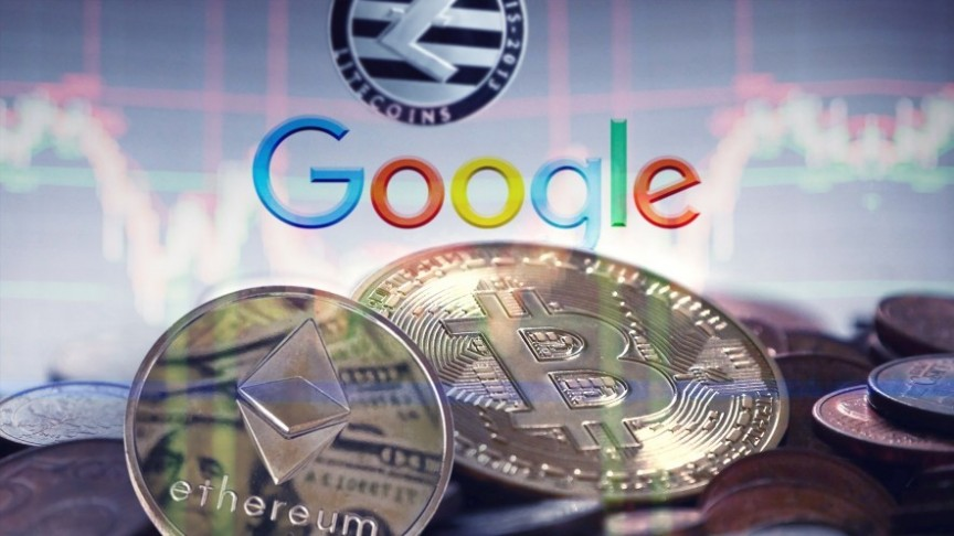 crypto coins on background of google logo