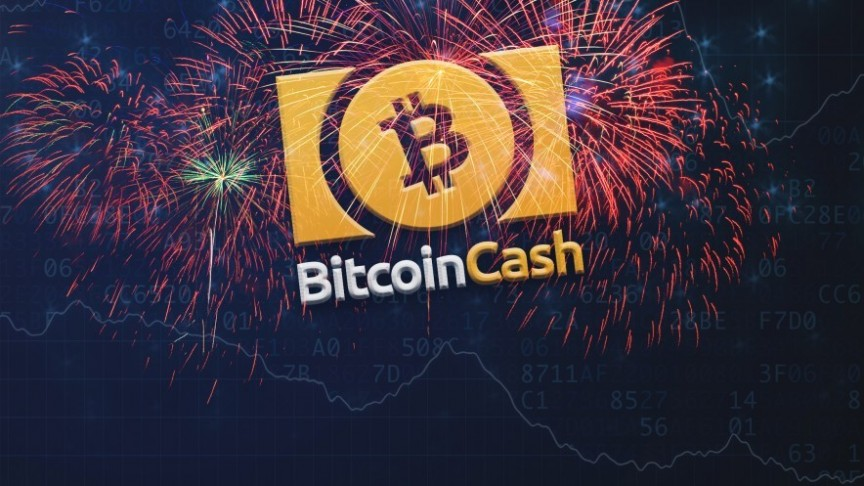 bitcoin Cash name and logo in yellow on background of red fireworks