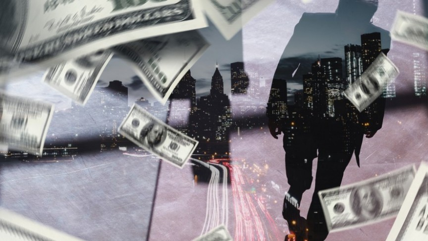shadow of a man walking in blurry street, dollar bills floating around