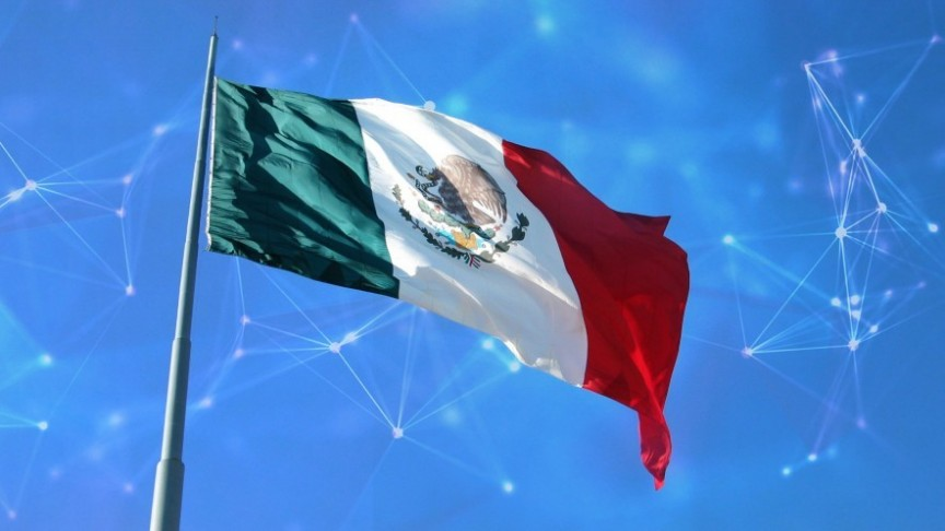 mexican flag waving on blue background