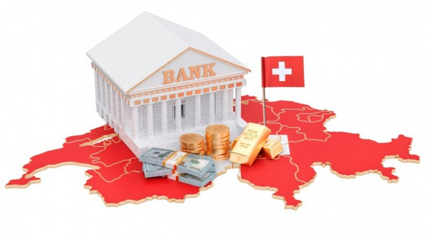Bank white building on red Switzerland map and flag, bills, coins and gold bars in front of stairs
