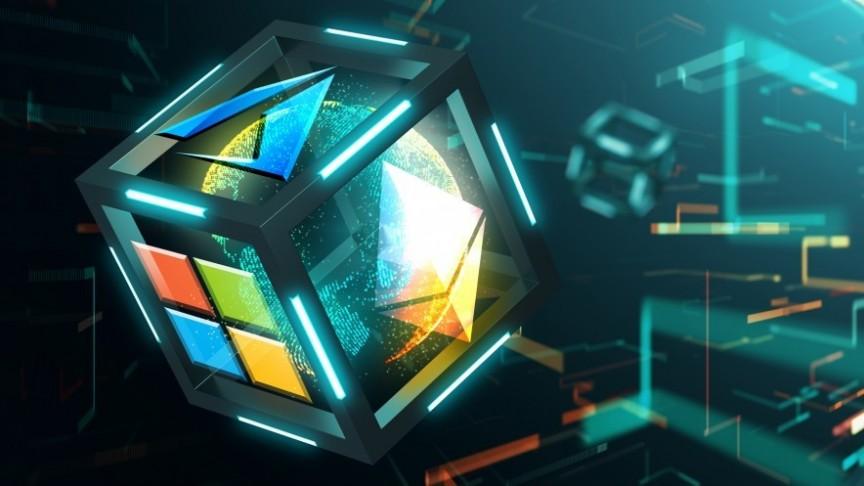 Mircosoft logo in cube
