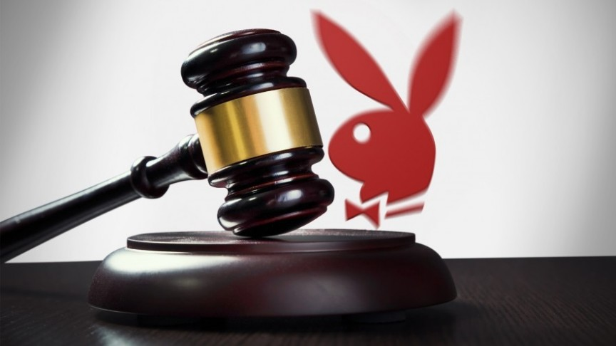 Playboy logo in red, gavel in black and gold