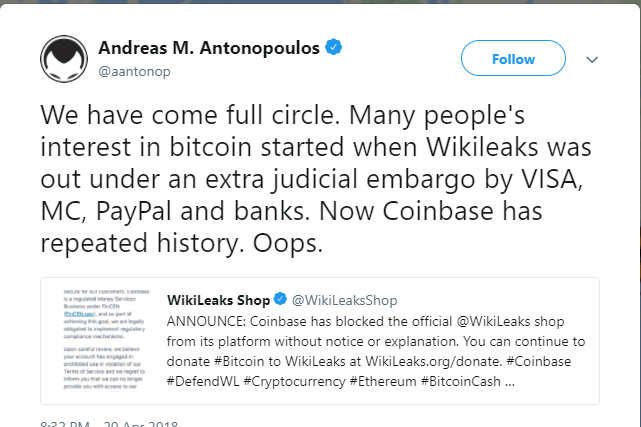 Cryptosphere reaction to coinbase