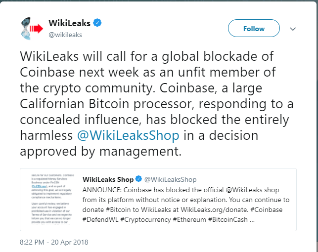 Wikileaks global blockade of coinbase