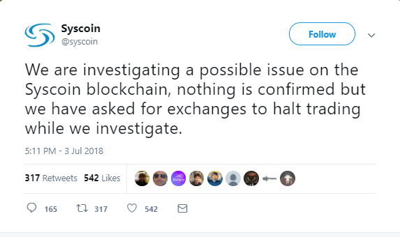Syscoin Announces Possible Issues