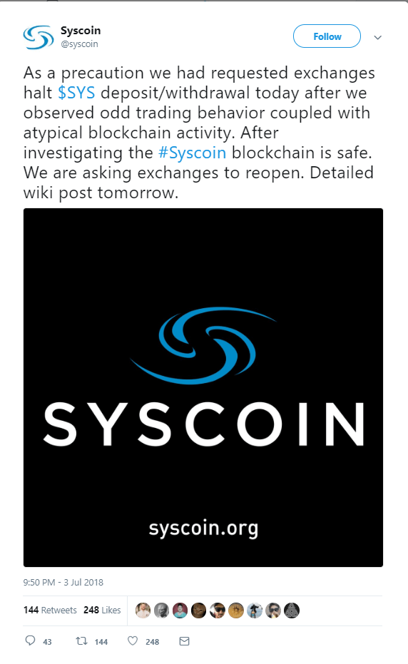 Syscoin Announces: Nothing to Worry about