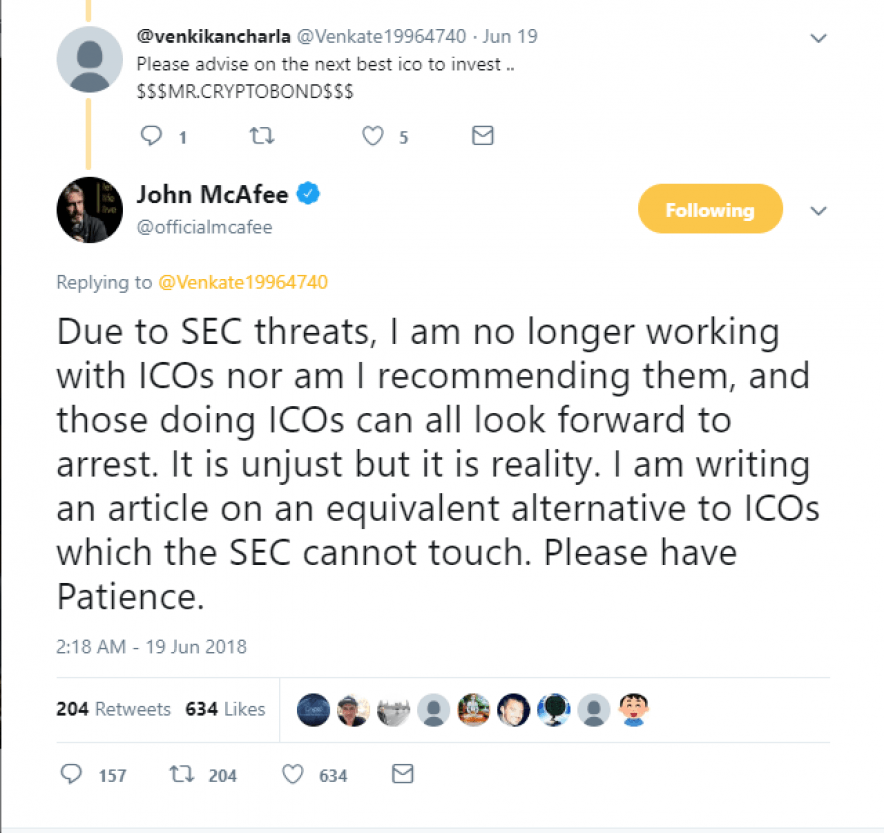 John McAfee's tweet regarding SEC threats regarding ICOs