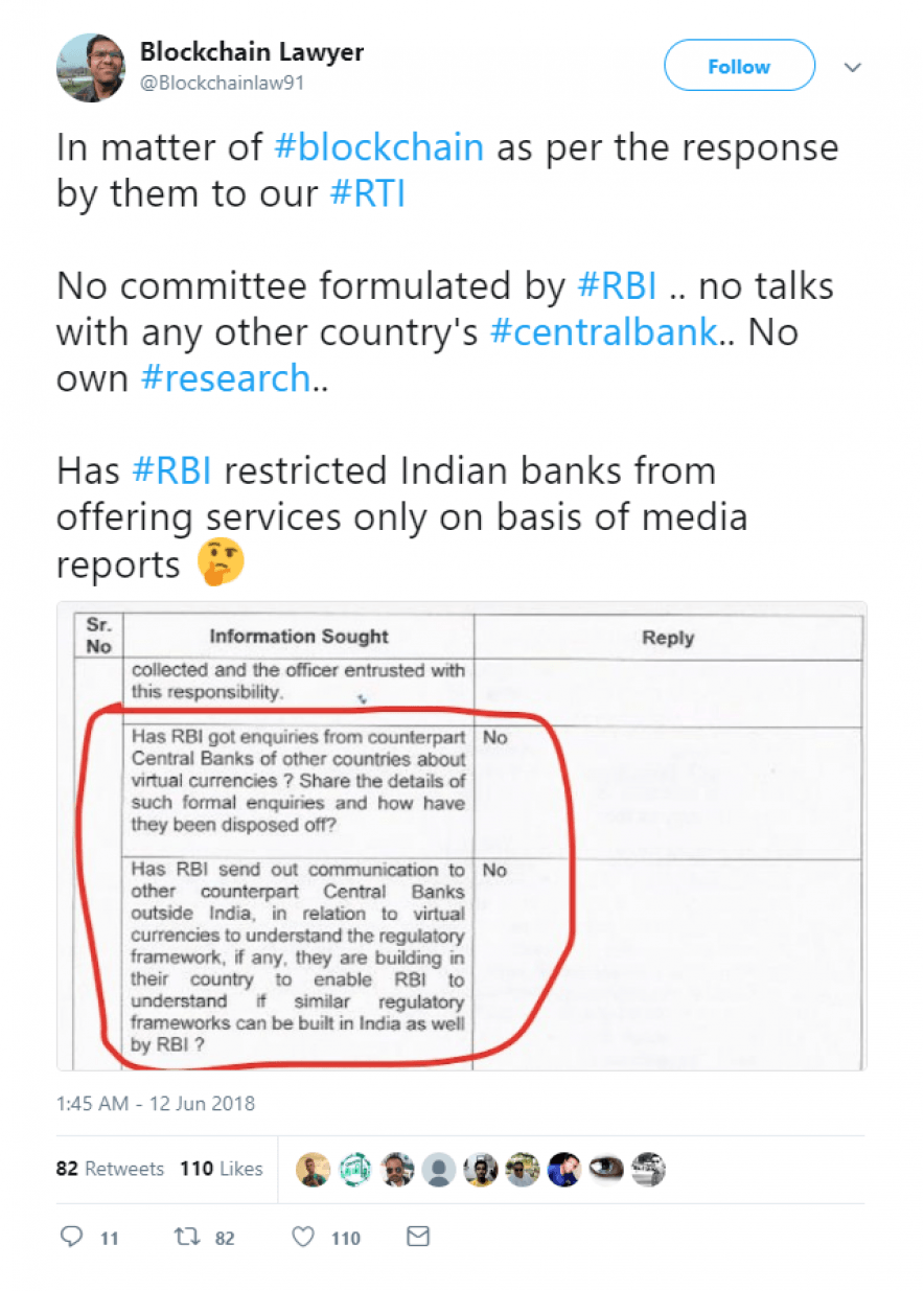 Blockchain Lawyer tweet in response to RBI sanctions